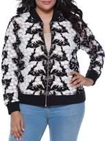Belldini Sheer Floral Crochet Bomber Jacket