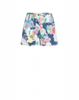 Moschino Painted And Bleached Flowers Denim Shorts Woman Multicoloured Size 36 It - (2 Us)