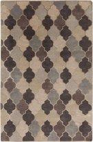 Surya Mugal IN-8616 Hand Knotted Semi-Worsted New Zealand Wool Geometric Area Rug, 5-Feet by 8-Feet
