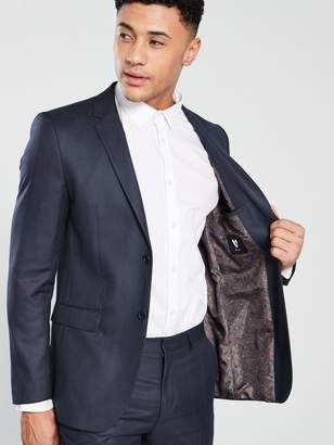 Very Regular Fit Check Suit Jacket - Navy