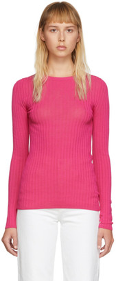Ami Alexandre Mattiussi Pink Fitted Crewneck Sweater