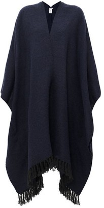 Brunello Cucinelli Fringed Cape - Womens - Dark Blue