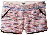 Karl Lagerfeld Tweed Shorts w/ Fringe & Contrast Black Trim (Little Kids)