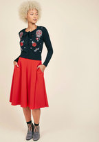Just This Sway Midi Skirt in Tomato in 2X