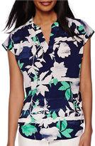 Liz Claiborne Cap Sleeve Split-Neck Print Blouse - Tall