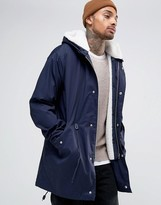 Asos Parka Jacket With Removable Borg Lining In Navy