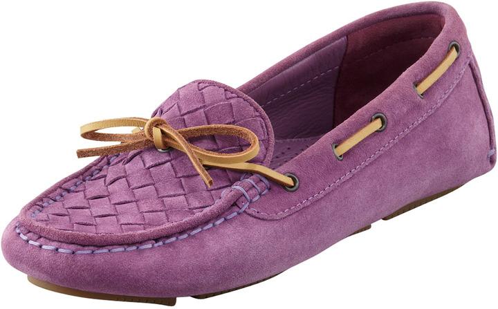 Bottega Veneta Intrecciato Suede Moccasin, Purple