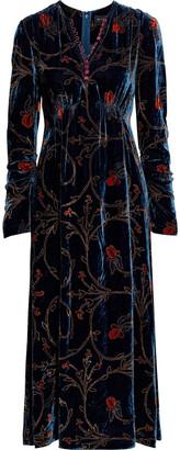 Etro Satin-trimmed Printed Velvet Midi Dress