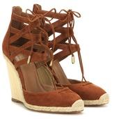 Aquazzura Belgravia 110 Suede Wedge Sandals