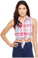 U.S. Polo Assn. Plaid Poplin Sleeveless Cropped Blouse