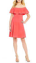 Eliza J Ruffled Off-the-Shoulder Short Sleeve Knit Fit-and-Flare Dress