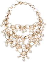 Carolee Gold-Tone Imitation Pearl & Pave Statement Necklace