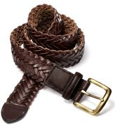 Charles Tyrwhitt Brown Leather Plaited Weave Belt Size 30-32
