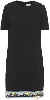 Emilio Pucci Printed Satin Twill-trimmed Wool-blend Mini Dress