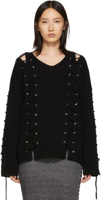 McQ Black Lace-Up Jumper