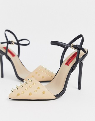 London Rebel stud stiletto high heels-Beige