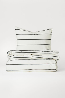 H&M Striped Duvet Cover Set - White
