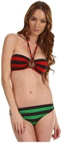 Michael Kors Deck Stripe Bandeau Bikini w/Logo Ring Set (Crimson/Palm) - Apparel