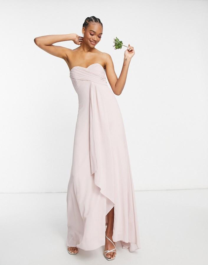 TFNC bridesmaid pleat wrap front bandeau ruffle hem maxi dress with thigh split in mink