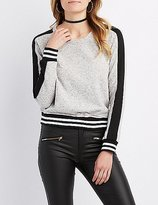 Charlotte Russe Striped Raglan Sweatshirt