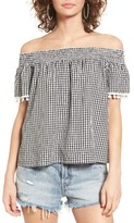 Women's Love, Fire Smocked Check Off The Shoulder Top