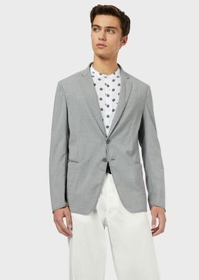 Emporio Armani Single-Breasted Jacket In Light Wool Seersucker