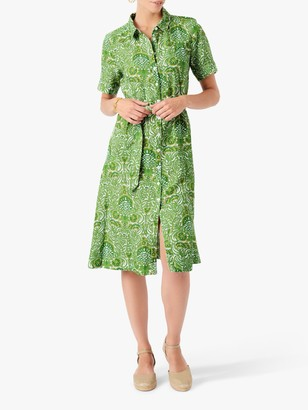 Brora Botanical Print Linen Shirt Dress, Lime