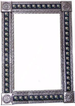 Fine Crafts & Imports Big Silver Lily Tile Talavera Tin Mirror