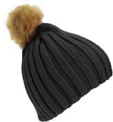 Universal Textiles Childrens Girls Cable Knit Faux Fur Pom Pom Winter Beanie Hat