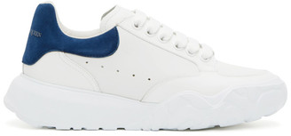 Alexander McQueen White and Blue Low Sneakers