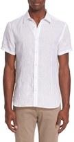 Orlebar Brown Men's 'Meden' Trim Fit Short Sleeve Linen Sport Shirt