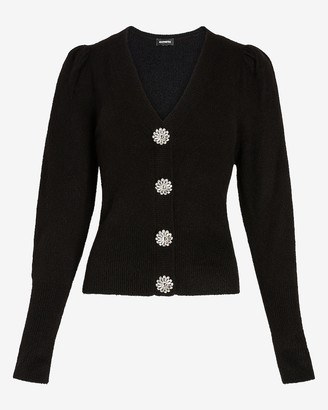 Express Jewel Embellished Button Puff Sleeve Cardigan