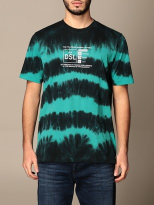 Diesel T-shirt In Cotton With Tie Dye Print And Logo
