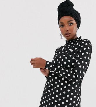 Verona high neck long sleeve top in polka dot two-piece-Black