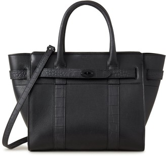 Mulberry Small Zipped Bayswater Black Silky Calf and Matte Croc Print