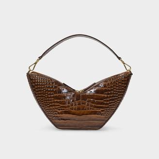 S.JOON Tulip Bag In Brown Croc-Embossed Leather