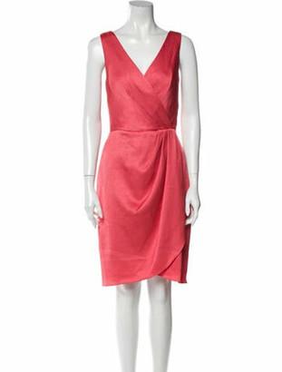 Lela Rose V-Neck Knee-Length Dress Rose