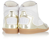 Maison Martin Margiela Metallic textured-leather and suede sneakers