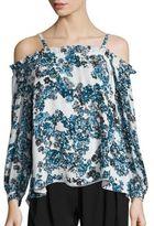 Parker Zola Floral Print Cold-Shoulder Blouse