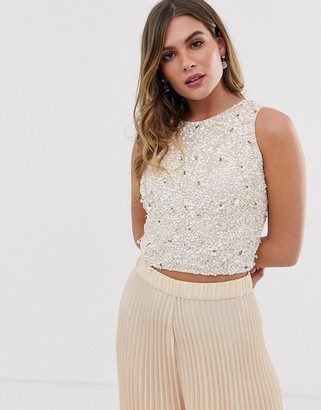 Lace & Beads embellished sleeveless crop top co-ord in pink