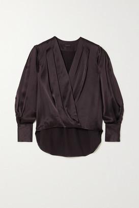 Rag & Bone Lei Wrap-effect Silk-satin Blouse - Plum