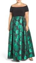 Alex Evenings Plus Size Women's Off The Shoulder A-Line Gown