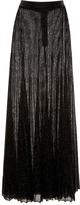 Proenza Schouler Black Metallic Sunburst Rib Long Skirt