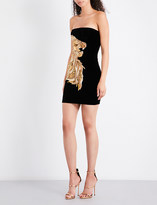 Balmain Gilded tiger-embellished strapless cotton-velvet dress