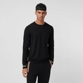 Burberry Icon Stripe Trim Merino Wool Sweater