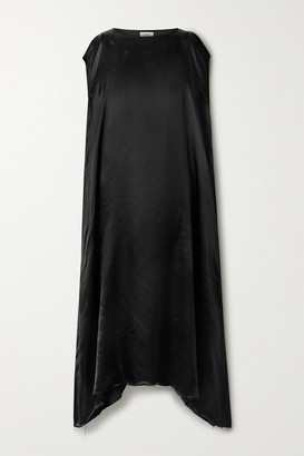 Vetements Asymmetric Satin-jacquard Dress - Black