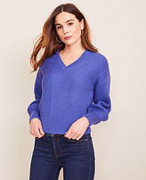 Ann Taylor Mixed Ribbed V-Neck Sweater