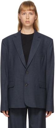 Balenciaga Navy Washed Prince Of Wales Blazer