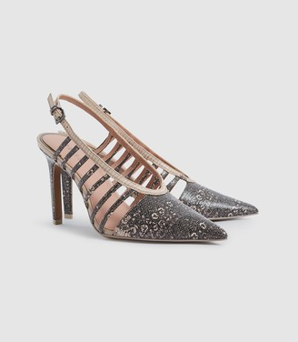 Reiss Daphne - Leather Slingback Heels in Truffle