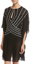 Gottex Embrace Striped Belt Caftan Coverup, Black